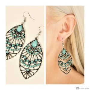 Eastern Extravagance - Blue & Silver Hook Earrings